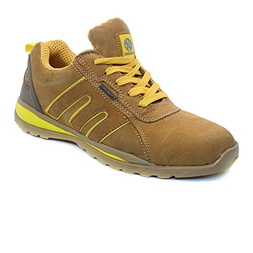 MENS SAFETY TRAINERS SHOES BOOTS WORK STEEL TOE CAP HIKER ANKLE HONEY YELLOW (11 UK)