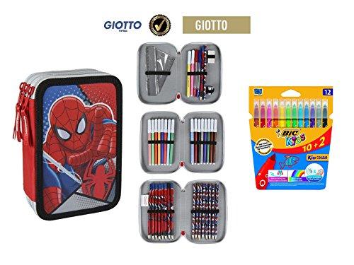 Plumier estuche cremallera triple 3 pisos Spiderman 42 piezas contenido Giotto + REGALO 12 Rotuladores BIC Kids