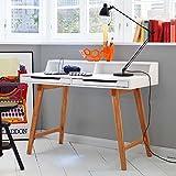 Pharao24 Design Schreibtisch in Buche Weiß 110 cm breit