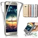 XINYIYI 360 Grad Silikon Hülle für Galaxy S7 Edge, Full Body Cover 2 in 1 Handyhülle Ultra Dünn Vorne und Hinten Weiche Transparent TPU Schutzhülle Komplette Slim Fit für Samsung Galaxy S7 Edge - Grau