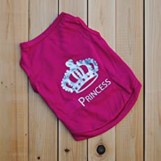 Ocamo Pet Summer Clothing Breathable Crown Printed T-Shirt Solid Color Vest for Dogs Puppy