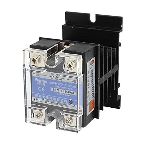 sourcingmap® AC 80-250V AC 24-480V 60A 4 bornes à vis-relais statique monophasé