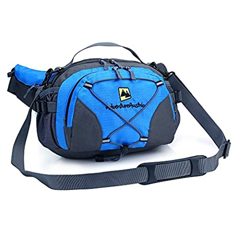 Blue Lightweight Lumbar Waist Pack with Drinks Holder from AdventureAustria. Large Water Resistant Bum Bag Fanny Pouch Belt Suitable for Outdoor Sports Fitness Cycling Jogging Hiking Dog Walking Camping Travel Activities etc. Ideal Bag for Carrying Money Mobile Phone iPhone Keys Wallet Bottles & Valuables. Adjustable & Reflective. Suitable for Men Women Children. Available in Black Grey Blue Green &
