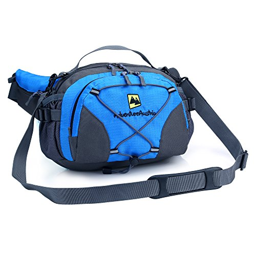 Outdoor Hüfttasche Groß mit Getränkehalter Wasserfest Bauchtasche mit Flaschenhalter - für Wandern Camping Reise usw um Wertsachen mit sich zu tragen. Einstellbar & reflektierend. (Blau)