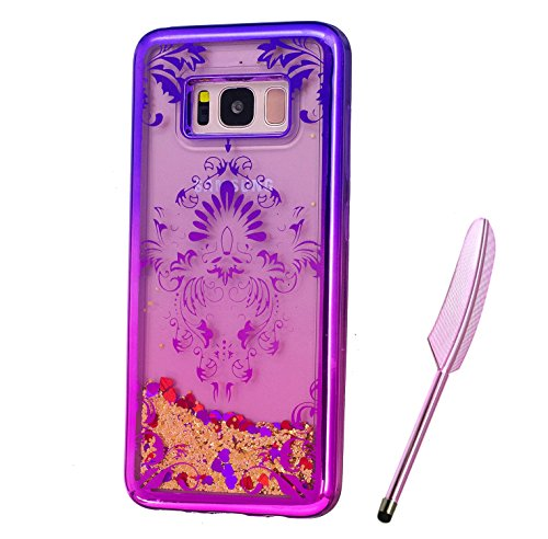 Galaxy S8 Plus Case, Purple Pink Plating Design, Edaroo 3d Cool Flowing Liquid Bling Sparkle Golden Gitter Style Beautiful Totem Henna Floral Pattern Slim Thin Fits Soft Rubber TPU Bumper Protective Case Cover for Samsung Galaxy S8 Plus