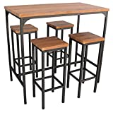 Yelloo Table de bar rectangulaire et 4 tabourets marron mod. FIRENZE table 110 x 66 x H 110 cm