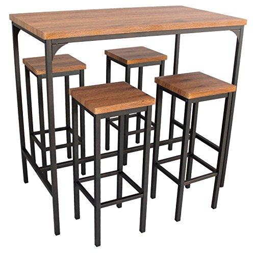 Yelloo Mod. FIRENZE Set mesa de bar rectangular con 4 taburetes Color marrón Mesa 110 x 66 x 110 (altura) cm