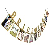 Culater® BRIDE TO BE Photo Banner DIY Wall Hanging Picture Album Photo Props Wedding Party Decorations (Gold)
