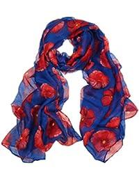 Amlaiworld Echarpes et foulards Femmes Impression de pavot rouge Longue  écharpe Enveloppe de plage de fleurs Mesdames Stole Châle… 52ff4670098