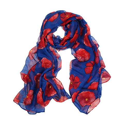 Amlaiworld Femmes Foulard rouge coquelicot fleur Wrap châle, 100cm*180cm (Bleu)