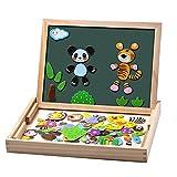 Uping Puzzels van hout, magnetisch, 100 delen, dubbelzijdig, magnetisch, tekenbord met kleurrijke pennen en krijt, educatief speelgoed voor kinderen vanaf 3 jaar, MBWJ001, meerkleurig