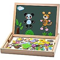 Uping Puzzles aus Holz, magnetisch, 100 Stück, doppelseitig, magnetisch, Zeichenbrett mit bunten Stiften und Kreide, Lernspielzeug für Kinder 3 Jahre und Plus, MBWJ001, Mehrfarbig