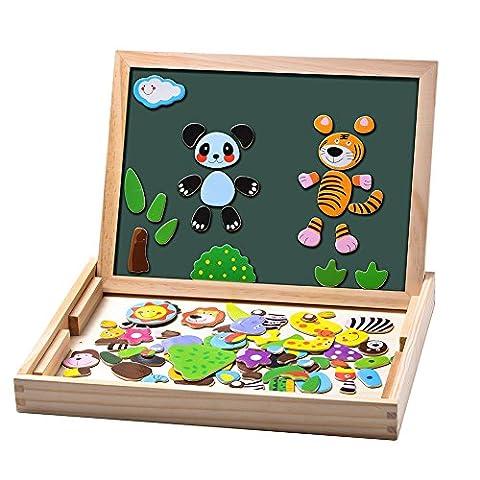 Uping Puzzles en Bois Magnétique 100 Pièces avec Tableau Double Face Aimanté Jouet Educatif pour Enfant 3 Ans et plus