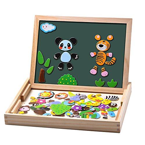 Uping magnetisches Holzpuzzle Staffelei doppelseitige Tafel Holzbrett Doodle 100 Stücke für ab 3 jahre Kinder Wald and Tier Test