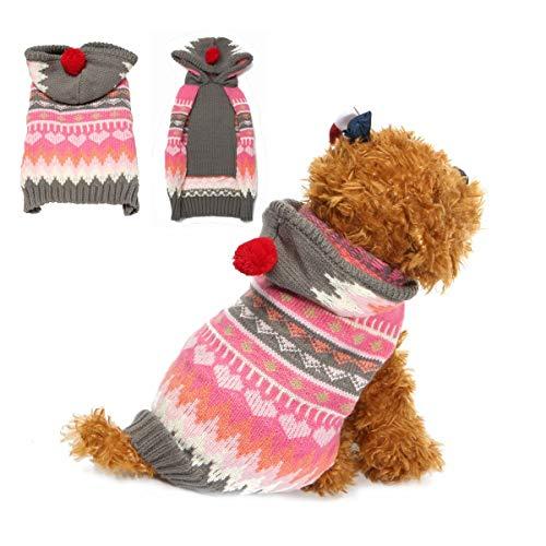 XUJJA Haustier Hund Katze Schneeflocke Pullover Winter warme Mantel Jacke Kleidung Weste Kostüm Jacke Hut Bekleidung Hoodie (Size : XS) (Einzigartige Kostüm Für Hunde)