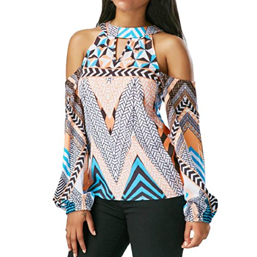 Wawer Women's Tops Vest, Women Off Shoulder Retro Geometry Blouse Bohemia Tops Blouse T-Shirt Great For Sports/Dance/Club/Party/Daily/Beach