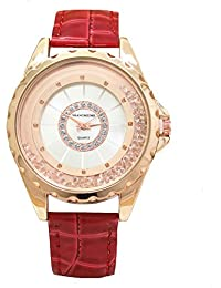 Yellow Chimes Rich Looks Moving Crystal Designer White Dial Red Strap Analog Watch For Women And Girls