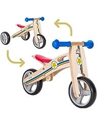 BIKESTAR® Original Premium Mini Kinderlaufrad (Kombination 2 und 3 Rad) für freche Zwerge ab ca. 18 Monaten ★ 2 in 1 Natur Holz Edition ★ Kleiner Sheriff