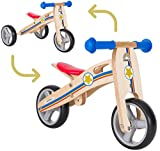 BIKESTAR Mini Kinder Laufrad Holz Lauflernrad mit DREI Rädern für Jungen und Mädchen ab 1 – 1,5 Jahre ★ 2 in 1 Kinderlaufrad ★ Kleiner Sheriff