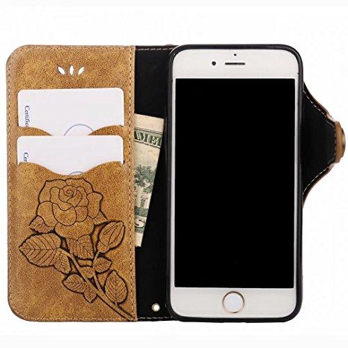 Custodie Apple IPhone 7 Cover, Yiizy Roses Design Custodia Portafoglio Silicone Gomma Flip Cover Case PU Pelle Cuoio Copertura Case Slot Schede Cavalletto Stile Libro Bumper Protettivo Borsa (Arancio) Marrone