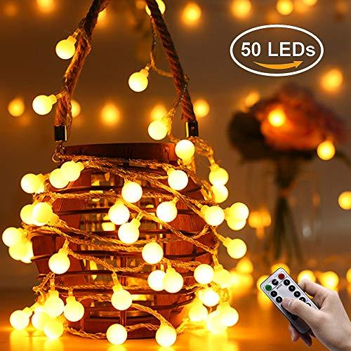 Greatever Lichterkette, 50er LED Glühbirnen Lichterkette 5M mit 8 Blitzmodi, Fernbedienung, Batteriebetriebene, IP65 Wasserdicht, Innen und Außen Beleuchtung Deko für Weihnachten Hochzeit Party Garten Balkon Halloween (Warmweiß) (Halloween-beleuchtung Im Freien)