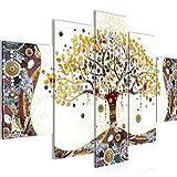 Bilder Gustav Klimt - Baum des Lebens Wandbild 150 x 100 cm Vlies - Leinwand Bild XXL Format Wandbilder Wohnzimmer Wohnung Deko Kunstdrucke Gelb 5 Teilig - MADE IN GERMANY - Fertig zum Aufhängen 004653a