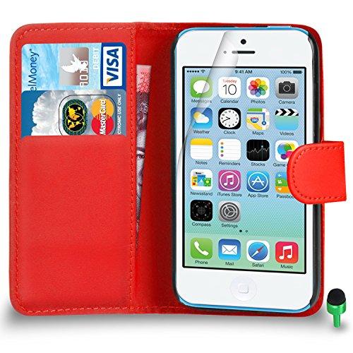 POUR Apple iPhone 5C - SHUKAN® Prime Cuir NOIR Portefeuille Cas Coque Couverture VERT Cap Protecteur d'écran & Tissu de polissage ROUGE