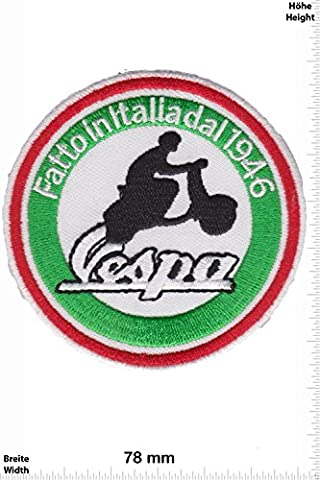 Patches - Vespa - Fatto in Italiadal 1946 - Scooter - Motorbike - Motorsport - Motorcycles - Biker - Iron on Patch - Applique embroidery Écusson brodé Costume Cadeau- Give Away