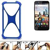 K-S-Trade Handyhülle für Archos 55 Helium 4Seasons Silikon Schutz Hülle Cover Case Bumper Silikoncase TPU Softcase Schutzhülle Smartphone Stoßschutz, blau (1x)
