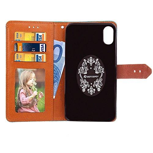 EKINHUI Case Cover European Mural Pattern Luxus Retro PU Leder Geldbörse Tasche Tasche mit Geared Echtleder Niet Gürtelschnalle & Kickstand für IPhone X ( Color : Red ) Gray