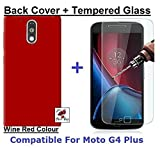 Shop Buzz Combo of Back Cover + Tempered Glass - Motorola G4 Plus- Wine Red Back Cover and Tempered Glass Screen Protector For Moto G Plus 4th Gen