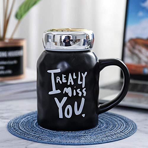 Scrub Creativo Specchio In Ceramica Specchio Resistente Al Calore Ufficio Affari Lettere Inglese Tazza Ad Alta Capacità Tazza Da Caffè Nero 480Ml