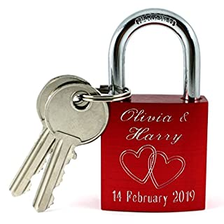 Red Love Padlock with Personal Engraving on Front and Back with 2 Keys Heart Lock