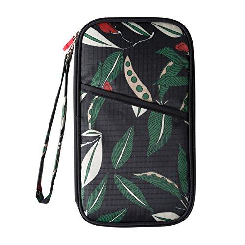 Comfysail Retro flores Cartera de Viaje para Documentos Portadocumentos Organizador de Viajes con Bolsillos de Cremallera (Verde)