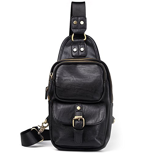 Mefly Neue Style Leder Brust Tasche Modische Schultertasche Mini Mini Black
