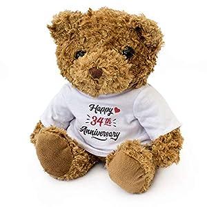 London Teddy Bears Oso de Peluche con Texto en inglés «Happy 34th Aniversary» - Bonito Peluche Suave - Regalo de 34 años