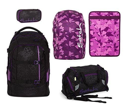 Satch Pack Schulrucksack-Set 5-teilig Rucksack + Sporttasche + Schlamperbox + Regencape & Heftebox Purple - Purple Hibiscus