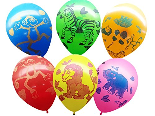Themez Only Multi Color Assorted Jungle Animal Print Balloons Pack Of 30