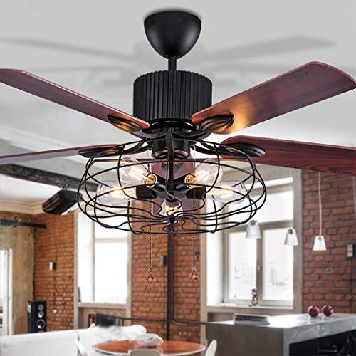 JINWELL LED Ventilateur De Plafond Avec Éclairage Salon Chambre Télécommande Haute Qualité Loft Ventilateur Lustre Rétro Salle À Manger Ventilateur Électrique Muet Télécommande Ventilateur