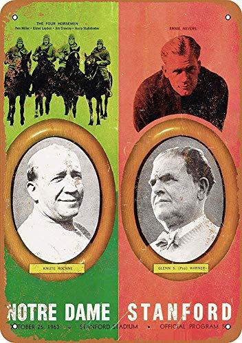 Notre Dame Vs. Stanford Vintage Blechschild Antike Metall gemälde Retro Wandschild Teller Poster Kaffee-Dekoration für Zuhause Club Bar Café Hotel