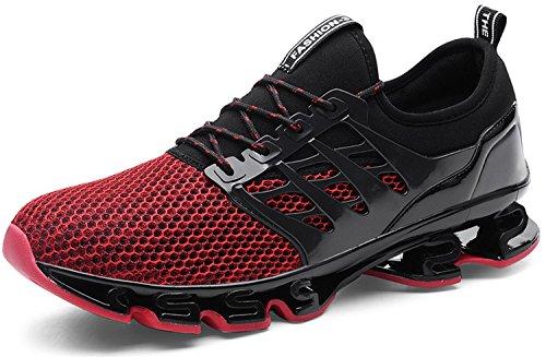 JOOMRA Herren Fitnessschuhe Laufschuhe Sportschuhe Sneakers Leicht Jogging Schuhe Gym Turnschuhe Outdoor Running Atmungsaktiv Freizeit Männer Jungen Jungs Rot 42