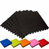 Schutzmatten Set von #DoYourFitness – 6x Puzzle Unterlegmatten für sicheren Bodenschutz für Sportgeräte, Gymnastikräume, Keller - Matten Schutz vor Kratzern, Stößen, Dellen, Kälte, Lärm, Flüssigkeit ! 6x Steckelemente á 60 x 60 x 1,2 cm (ca. 2,2m²) / In verschiedenen Farben erhältlich / Schwarz