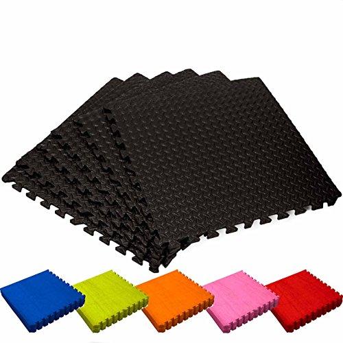 Alfombrilla gimnasio / Esterilla protectora para suelo »PuzzleUp« / Puzzle mat esterilla para deportes, entrenamiento, esterilla para ejercicio / Protección para suelo perfecta consistente de 6 elementos de encaje de 60 x 60 x 1,2 cm (aprox. 2,2 m²) / negro
