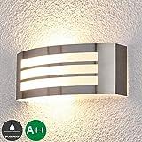 Lampenwelt Wandleuchte außen 'Raja' (spritzwassergeschützt) (Modern) in Alu aus Edelstahl (1 flammig, E27, A++) | Außenwandleuchten, Wandlampe, Außenlampe, Wandlampe für Outdoor & Garten