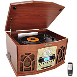 Pyle PTCDS7UIW Tocadiscos retro con CD/MP3/Casette/Radio/USB/SD, Aux-In y vinilo a MP3 Encoding (Wood Finish)
