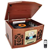 Pyle Home PTCDS7UIW Retro Vintage Turntable with CD/MP3/Casette/Radio/USB/SD, Aux-In and Vinyl-to-MP3 Encoding