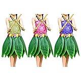 Kurtzy Confezione da 3 Gonne Hawaiane Foglie- Gonna Hawaiana Erba Foglia con Fiore Artificiale di Ibisco per Spiaggia, Costume Barbecue e Accessori Festa- Gonne Hawaiane Stile Foglia di Banana