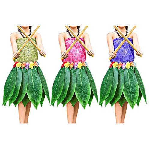 Hula Kostüm Traditionelle - 3 Pcs Blatt Hawaii Röcke - Bunte Seide Blumenimitat Blatt Rock Kostümpartys, Veranstaltungen, Events, Geburtstage, Feiern & Strand - Elastischer Hula Rock Kleid Röcke Frauen - Luau Hawaii Party