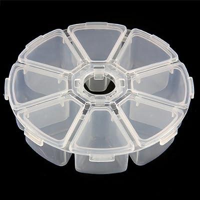 SODIAL(R) 8 F?cher Plastik Aufbewahrungsbox Plastik Schmuckschatulle Schmuckk?stchen Rund
