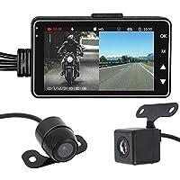 Sifeier Motorcycle Dash Cam Motorbike Recorder Waterproof Dual Lens Video Recorder Motorbike Recording Camera Display 3.0'' LCD Split Screen Front Rear Recorder Dual-track